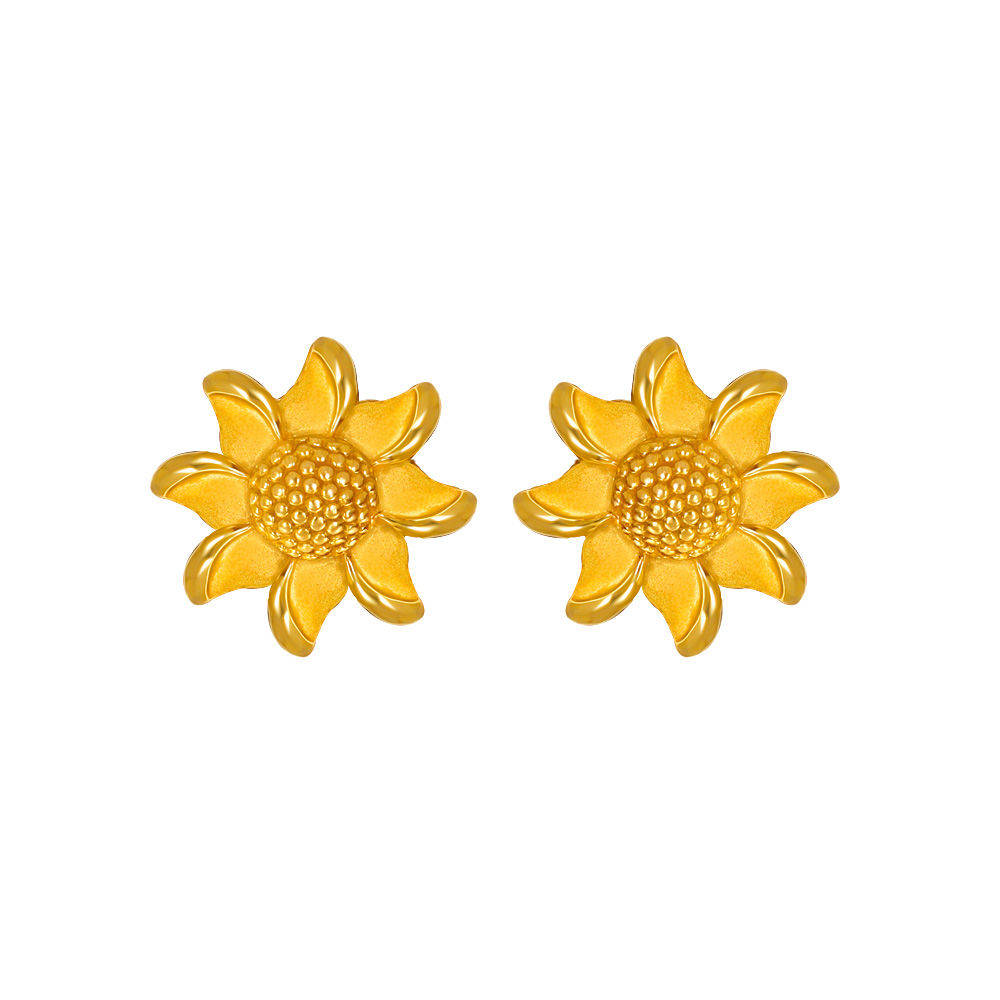 Gold Blossom Floral Textured Gold Earrings 16173326-1_1.jpg
