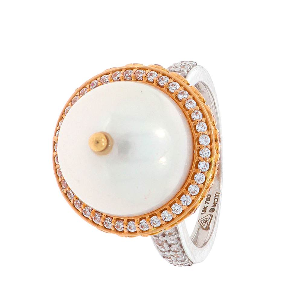 Gemstone Rings Glossy Finish Two Tone Blossom Design Natural Pearl With CZ Studded Gold Ring 17108010-1.jpg