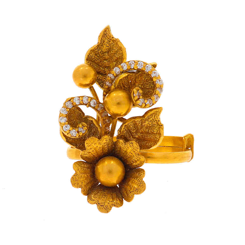 Cubic Zirconia - CZ Rings Antique Finish Floral Leafy Design CZ Studded Adjustable Gold Ring 18132211-1.jpg