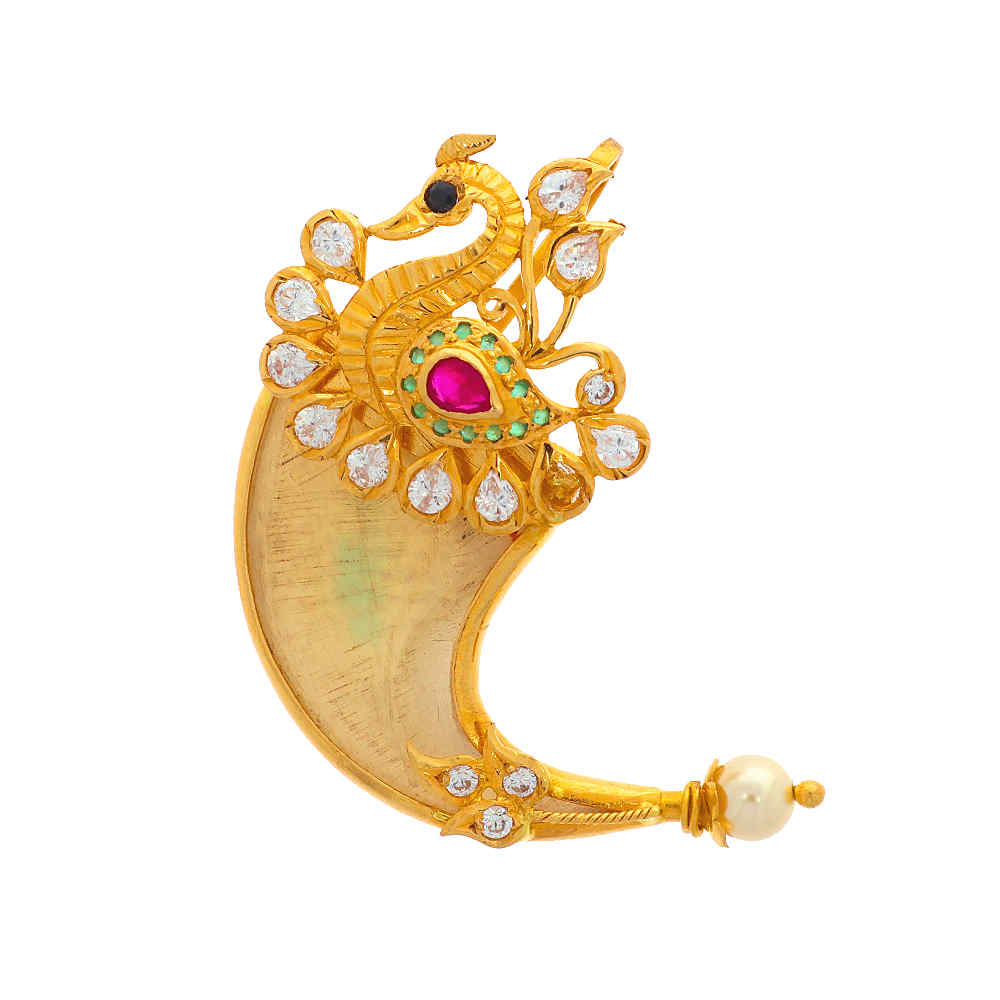 Gemstone Pendants Glossy Finish Peacock Design CZ With Synthetic Pearl Ruby Studded Gold Pendant 19032502-1.jpg