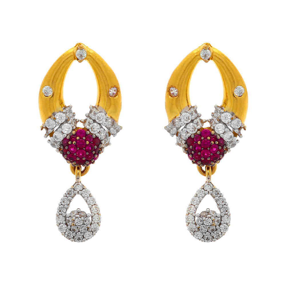 Gemstone Sets Glossy Finish Contemporary Design CZ With Synthetic Colour Stone Studded Gold Pendant Set 19037407-3.jpg