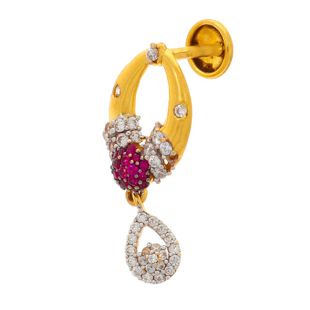 Gemstone Sets Glossy Finish Contemporary Design CZ With Synthetic Colour Stone Studded Gold Pendant Set 19037407-4.jpg