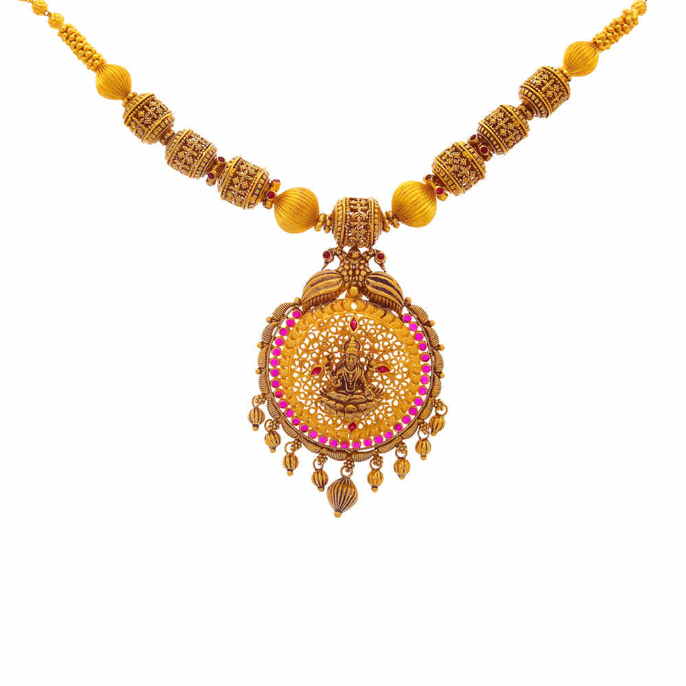 Temple Antique Finish Temple Peacock Design Synthetic Ruby Studded Gold Necklace 19040006-1.jpg