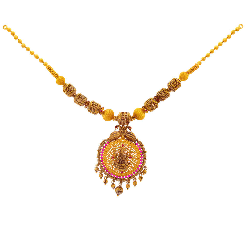 Temple Necklace Antique Finish Temple Peacock Design Synthetic Ruby Studded Gold Necklace 19040006-2.jpg