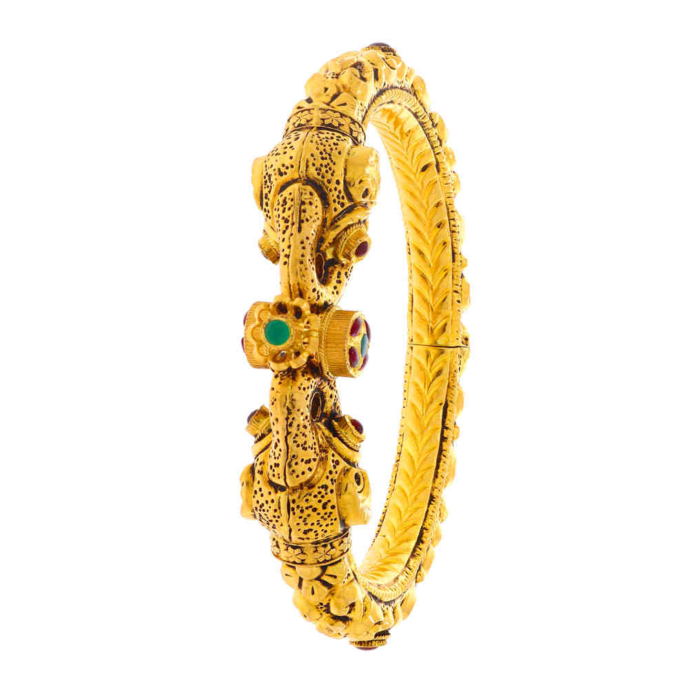 Temple Antique Finish Temple Design Synthetic Colour Stone Studded Gold Openable Bangle 19045302-1.jpg