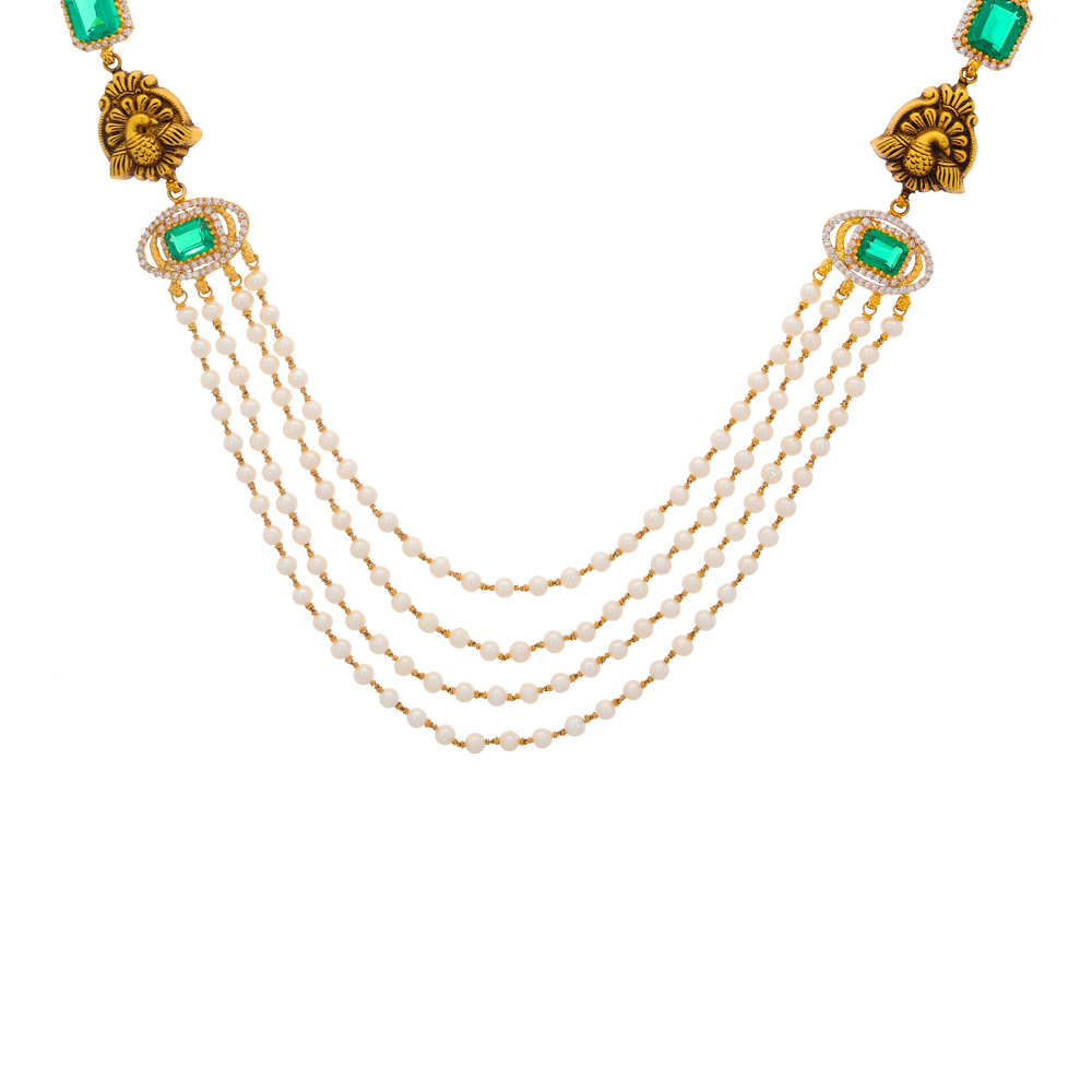 Gemstone Antique Finish Peacock Design CZ With Synthetic Pearl Emerald Studded Gold Necklace 19049902-1.jpg