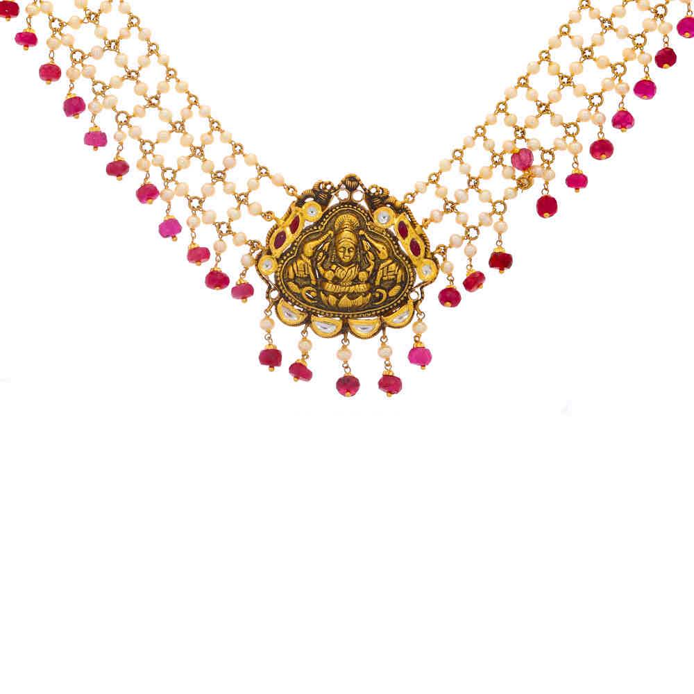 Gemstone Necklace Antique Finish Temple Design Linked With Ruby Pearl Gold Necklace 19054402-1.jpg