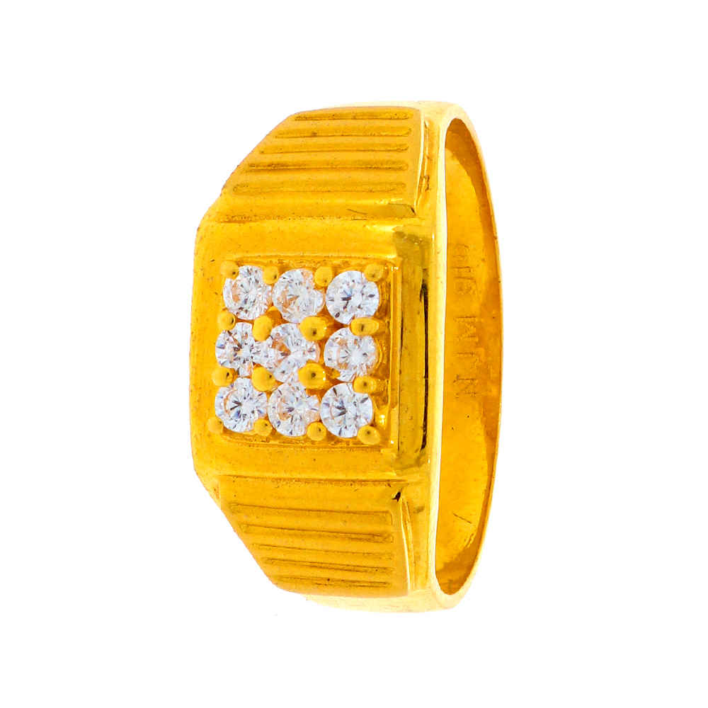 Cubic Zirconia - CZ Rings Matte Finish Grooved Design CZ Studded Gold Ring 19105404-1.jpg