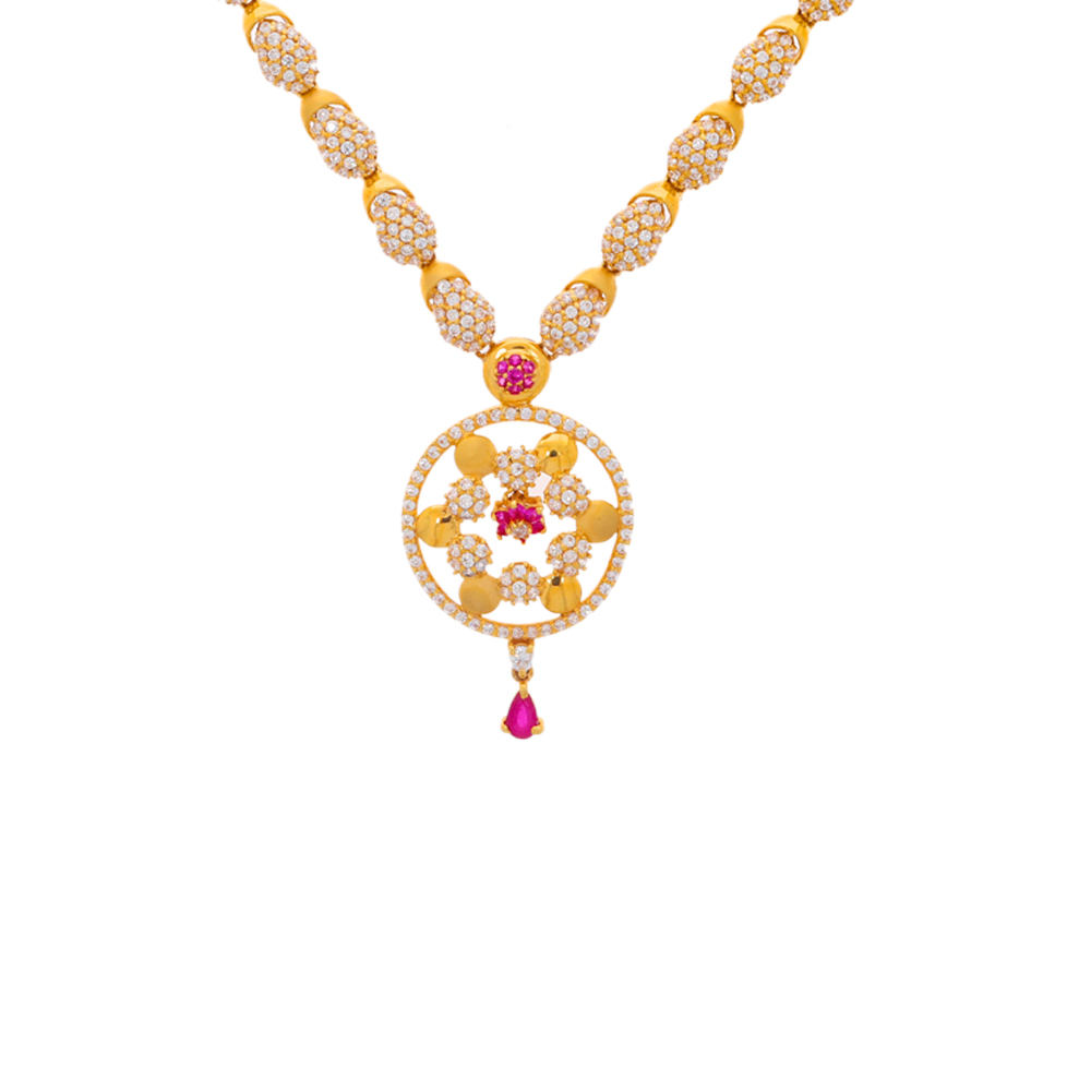 Gemstone Sets Glossy Finish Traditional Floral Design CZ With Synthetic Ruby Studded Gold Necklace Set 19166202-2.jpg