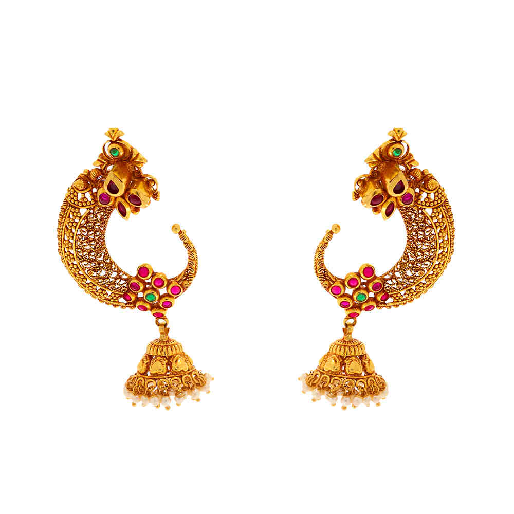 Gemstone Antique Matte Finish Filigree Traditional Design Studded With Synthetic Pearl Ruby Emerald Gold Earrings 19202005-1.jpg