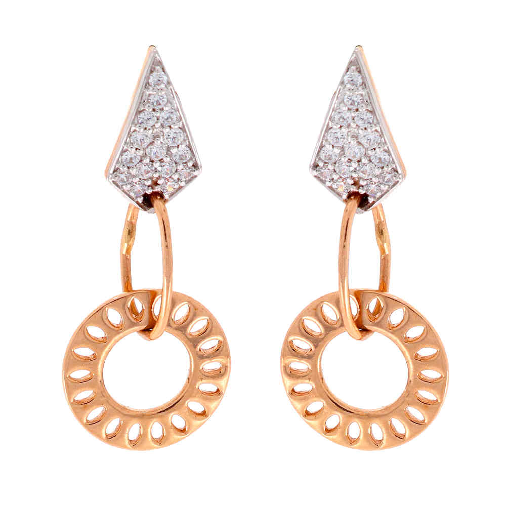 Cubic Zirconia - CZ Glossy Finish Contemporary Design CZ Studded Rose Gold Earrings 19208902-1.jpg