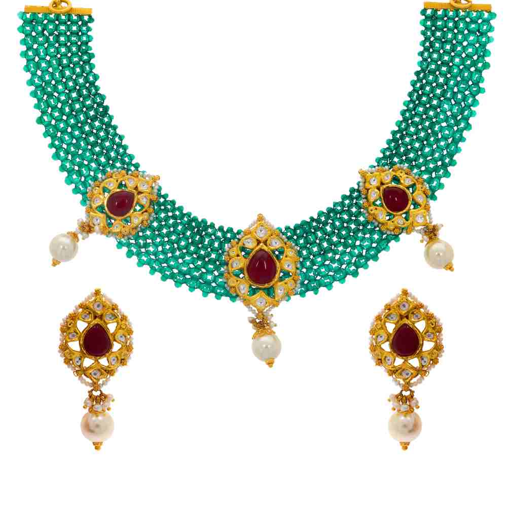Gemstone Glossy Finish Traditional Design CZ Studded With Snythetic Emerald Pearl Bead Gold Pendant 19218502-1.jpg