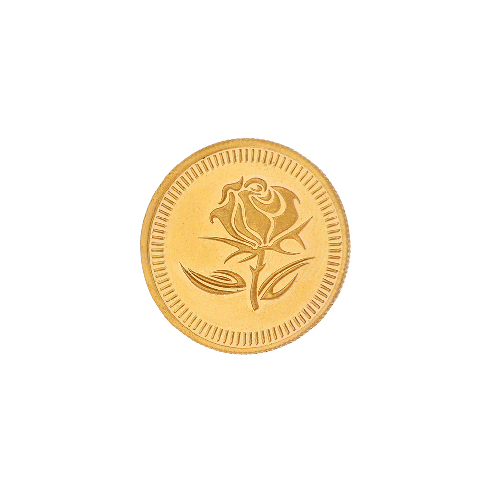 1 Grams 916 Purity Rose Floral Gold Coin-JPAUG-17-070-22-1