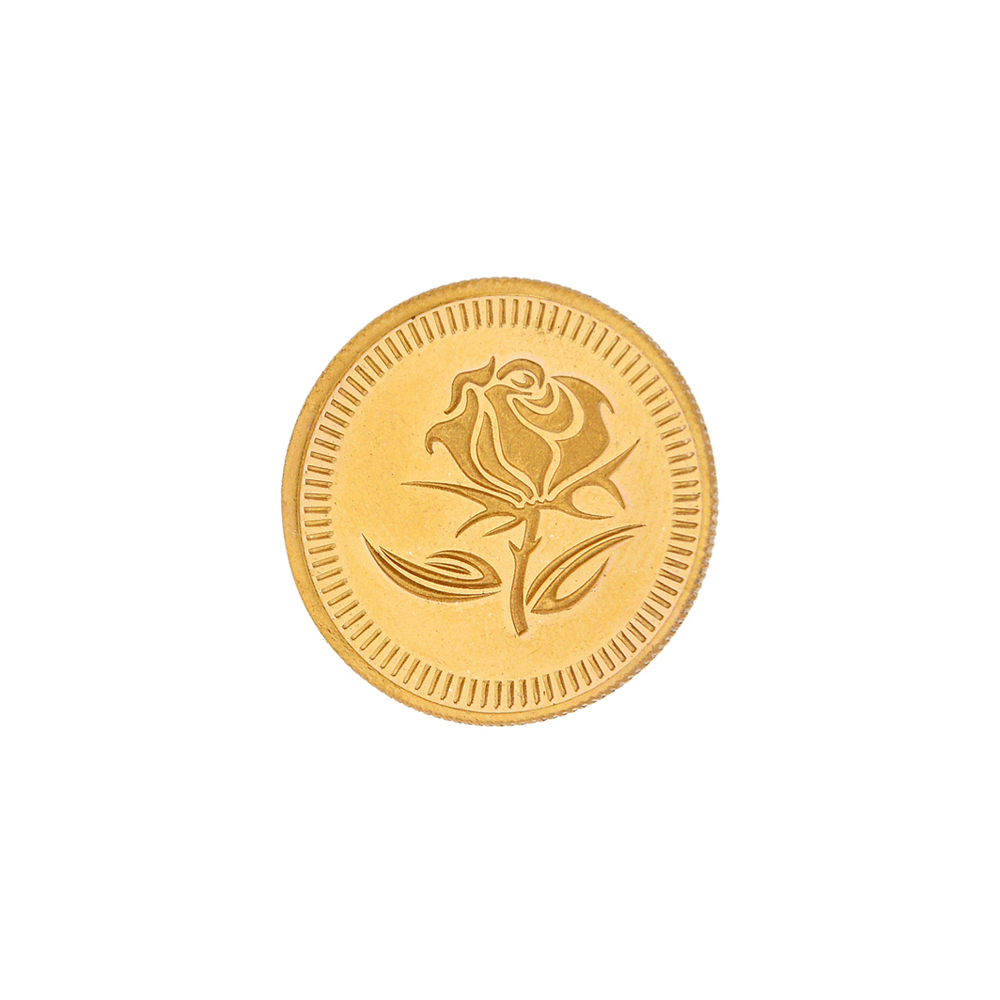 2 Grams 916 Purity Rose Floral Gold Coin-JPAUG-17-070-22-2
