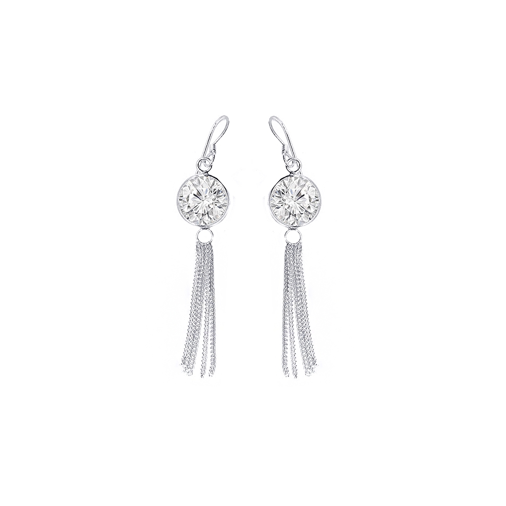 Elegant Single CZ Diamond Daily Wear 925 Silver Earring-ASER141