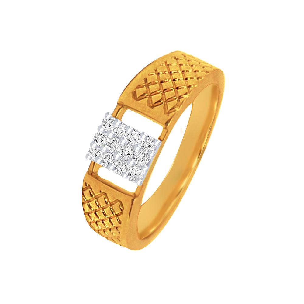 Sparkling Cluster Textured Shank Contemporary Daily Wear Yellow Gold 18kt Diamond Ring For Him-145-DGR177