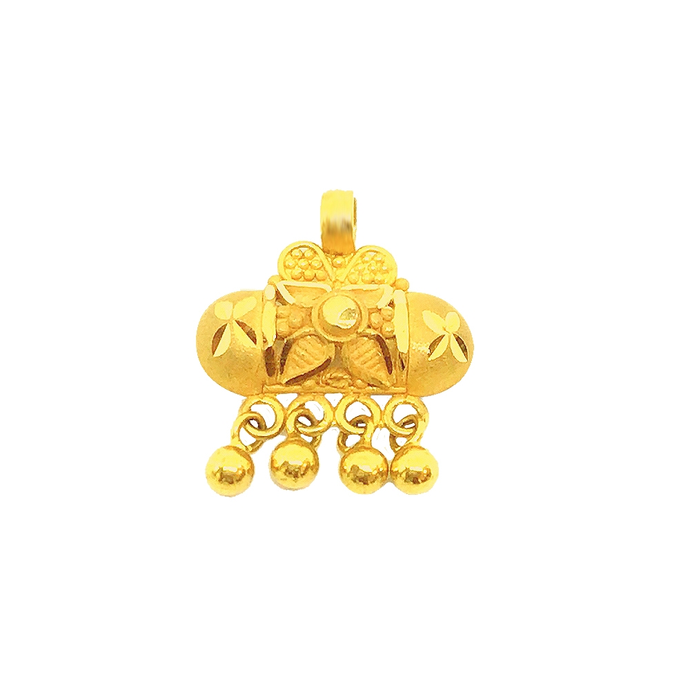 Traditional Textured Daily Wear 22kt Yellow Gold Pendant -LKT2540