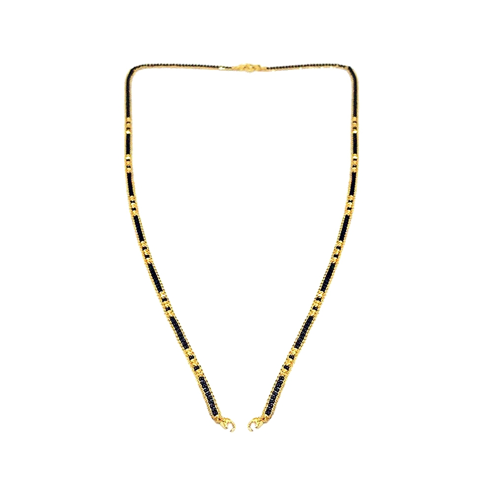 Traditional Textured Daily Wear Yellow Gold 22kt with Beads Mangal Sutra Chain -145-MS916