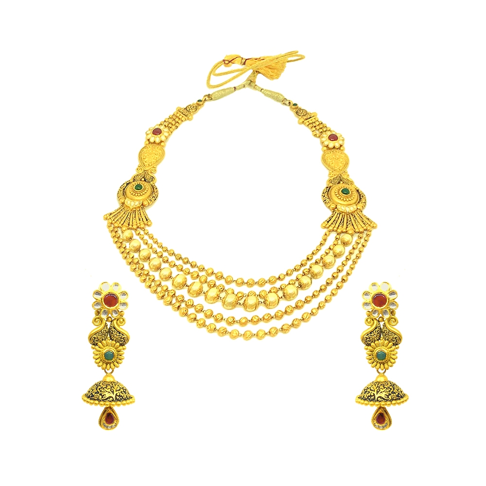 Gemstone Antique Textured Paisley Multilayered Wedding Yellow Gold 22kt Natural Multicolour Stones Necklace Set -145-NS1447 NS1447-1.jpg