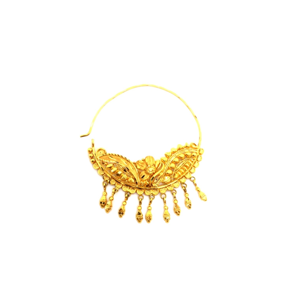 Traditional Textured Floral Wedding Yellow Gold 22kt Nose Pin -145-NTH478