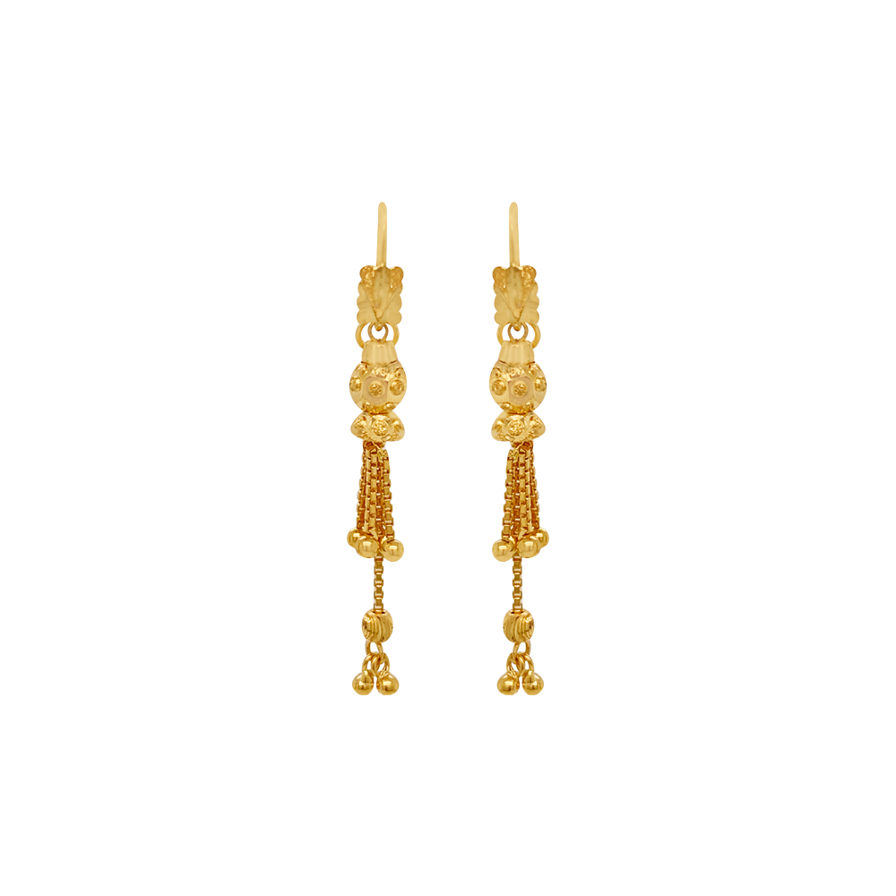 Traditional Textured Ball Helix Gold Earrings