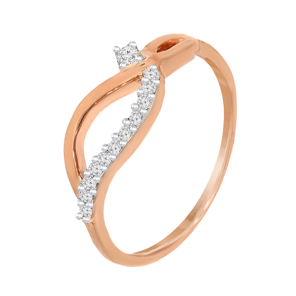 Stylish Criss-Cross Rose Gold 18kt Diamond Ring-RRI01920
