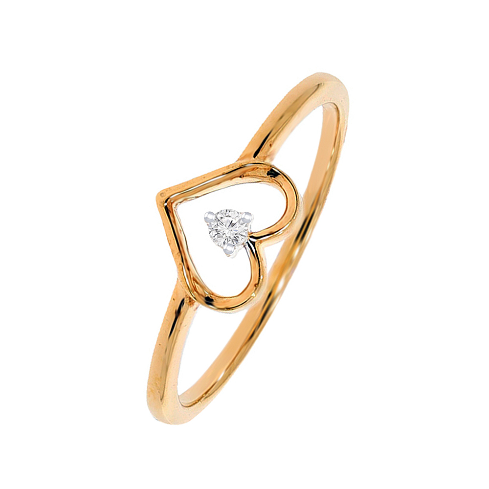 Simple Heart Single Diamond Gold Ring
