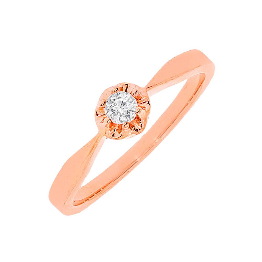 Simple Floral Rose Gold Diamond Ring