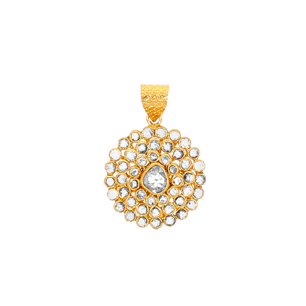 Glittering Embossed Yellow Gold 22kt Un-Cut Diamond Pendant-UP338