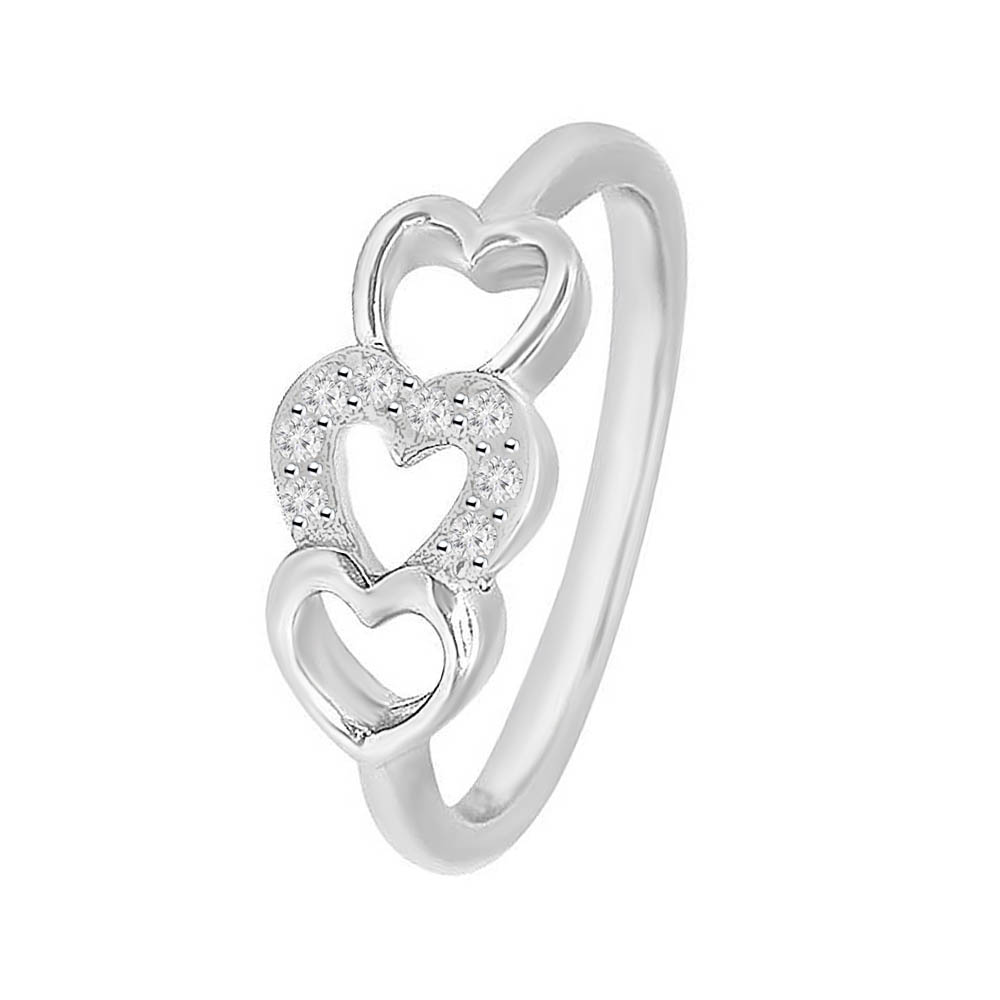 Dazzling Heart Shape White Silver 925 CZ Ring-185-AFSLRNG-0067