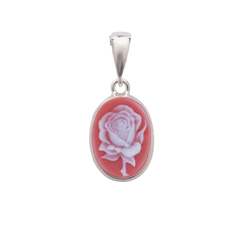 Exquisite Rose Natural Red Agate Cameo Gold Pendant -PNO590_R_16X12