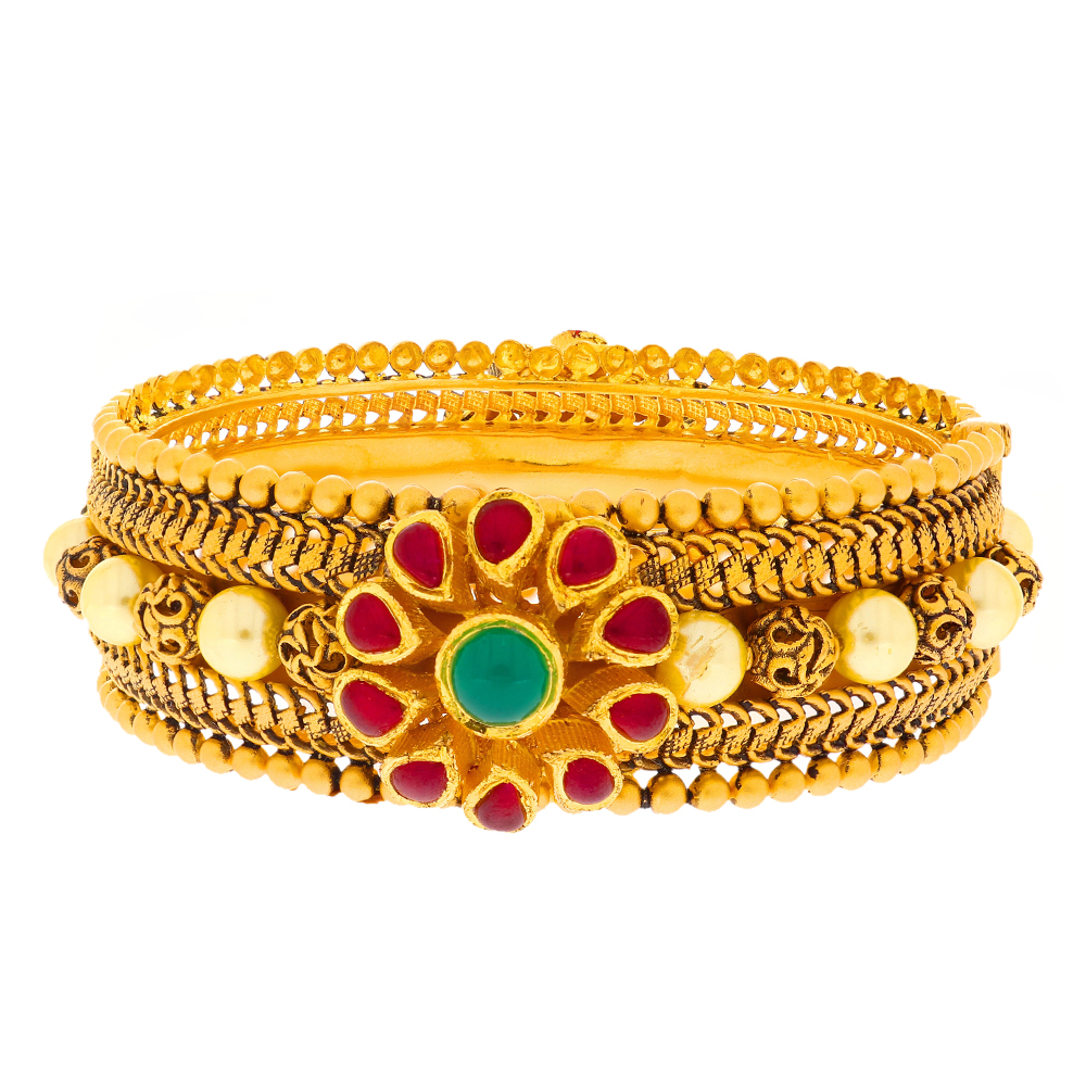 Gemstone Bangles Matte Antique Finish Filigree Gold Bead Ball With Floral Design Multicolour Synthetic Stone Openable Gold Bangle 2788-2.jpg