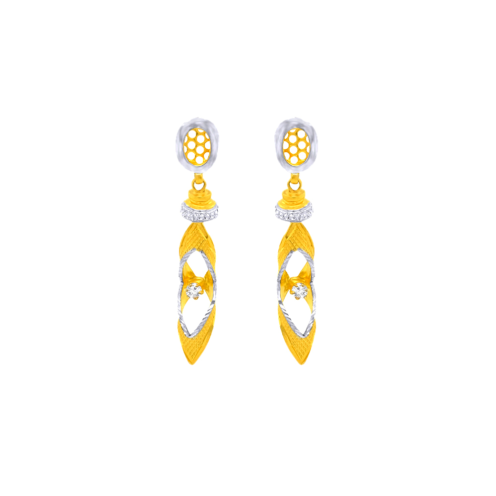 Delicate Cutout Textured Dangler CZ Gold Earrings