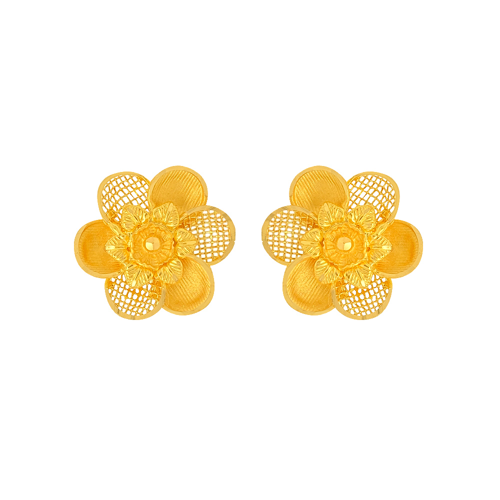Classy Cutout Floral Gold Earrings