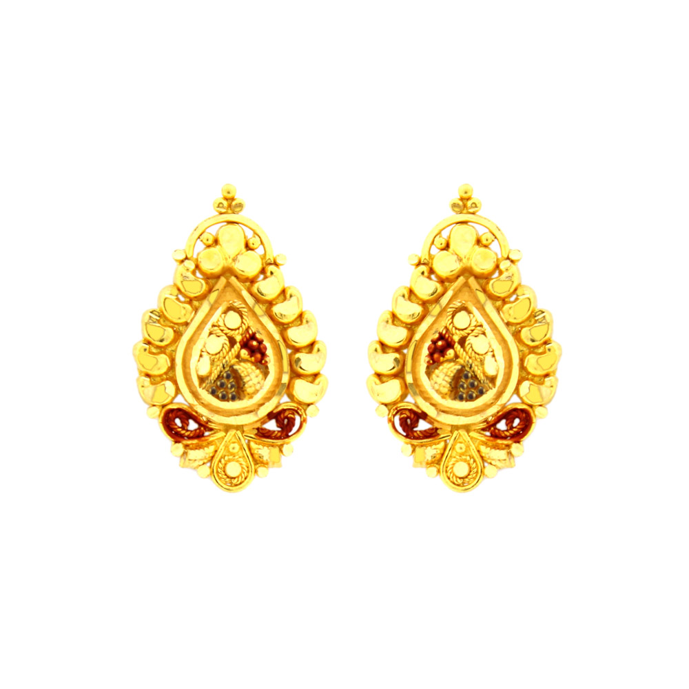 Traditional Drop Texture Gold Earring