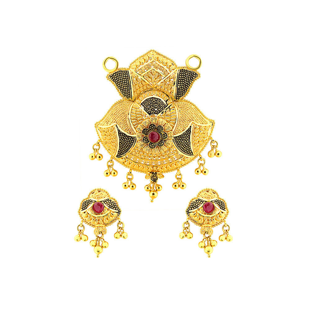 Grace Engraved Enamel Floral Ruby Gemstone Gold Tanmaniya Set