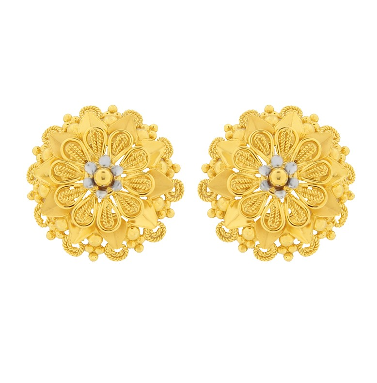 Cerimonial Embossed Floral Gold Earring
