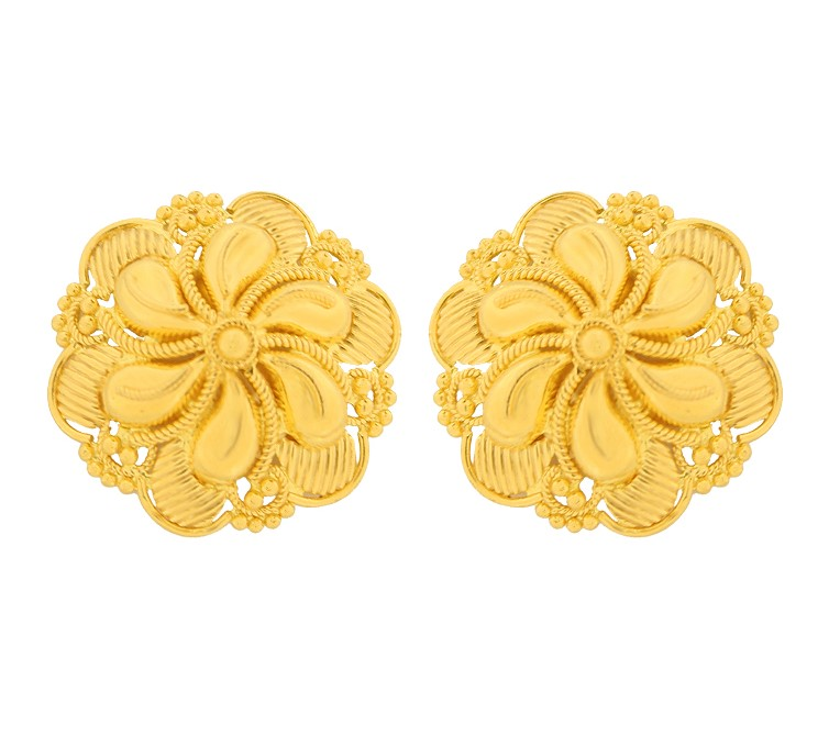 Traditional Engraved Floral Gold Earring