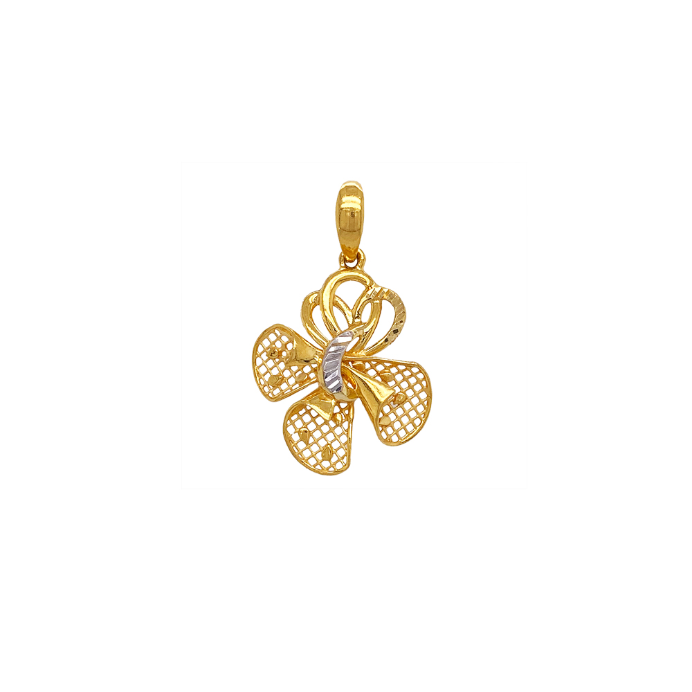 Blooming Cutout Floral 22kt Yellow Gold Pendant -CLK14834
