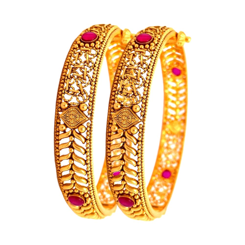 Silver Traditional Embossed Floral Cutout 22kt Yellow Gold Bangles-235-GLK6403 GLK6403-1.jpg