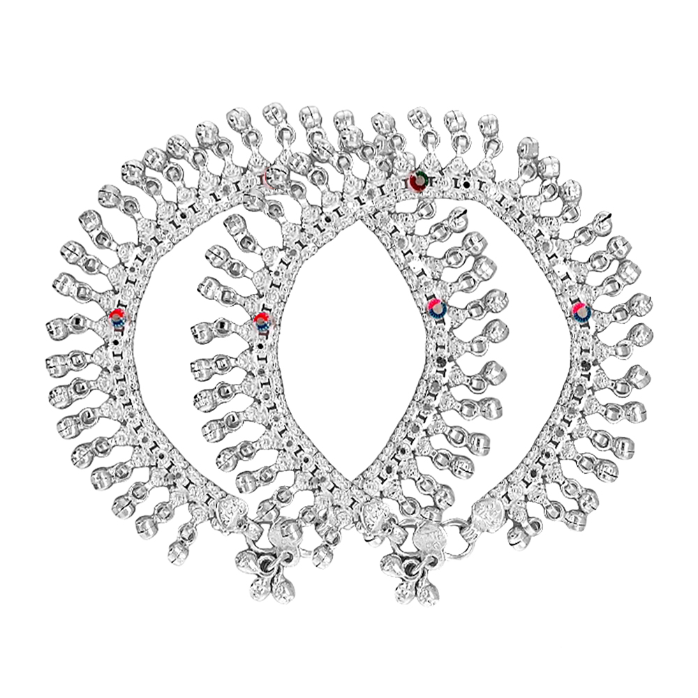 Silver Anklet/Payal Traditional 700 Purity Bead Silver Payal SPG2932-2.jpg