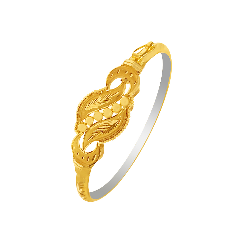 Traditional Leaf Engraved Gold Bracelet