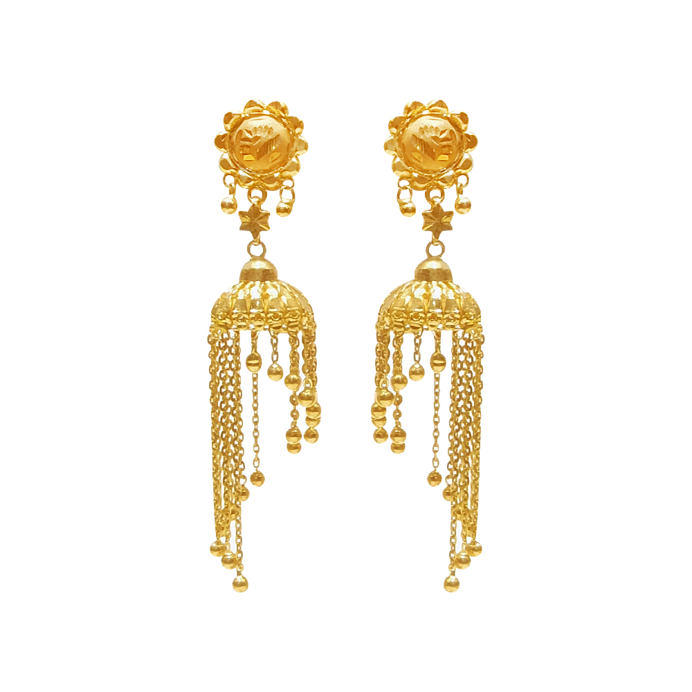 Ceremonial Engraved Dangler Jhumki Earrings