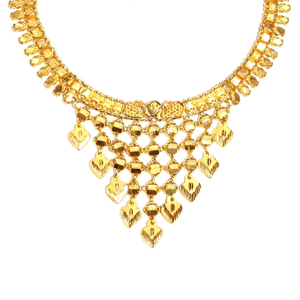 Gold Trendy Delicate Textured Gold Necklace RK-5-1.jpg