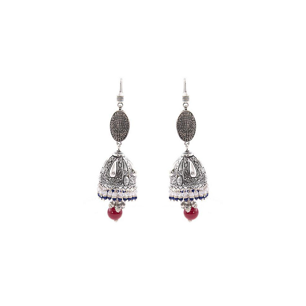 Beaut Antique Gemstone Engraved Silver Jhumka Earring