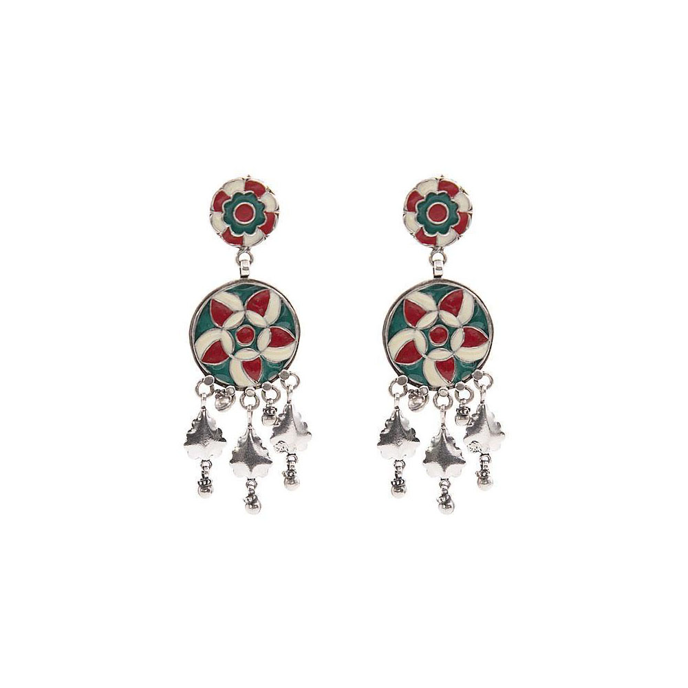Attractive Enamel Dangler Silver Earring