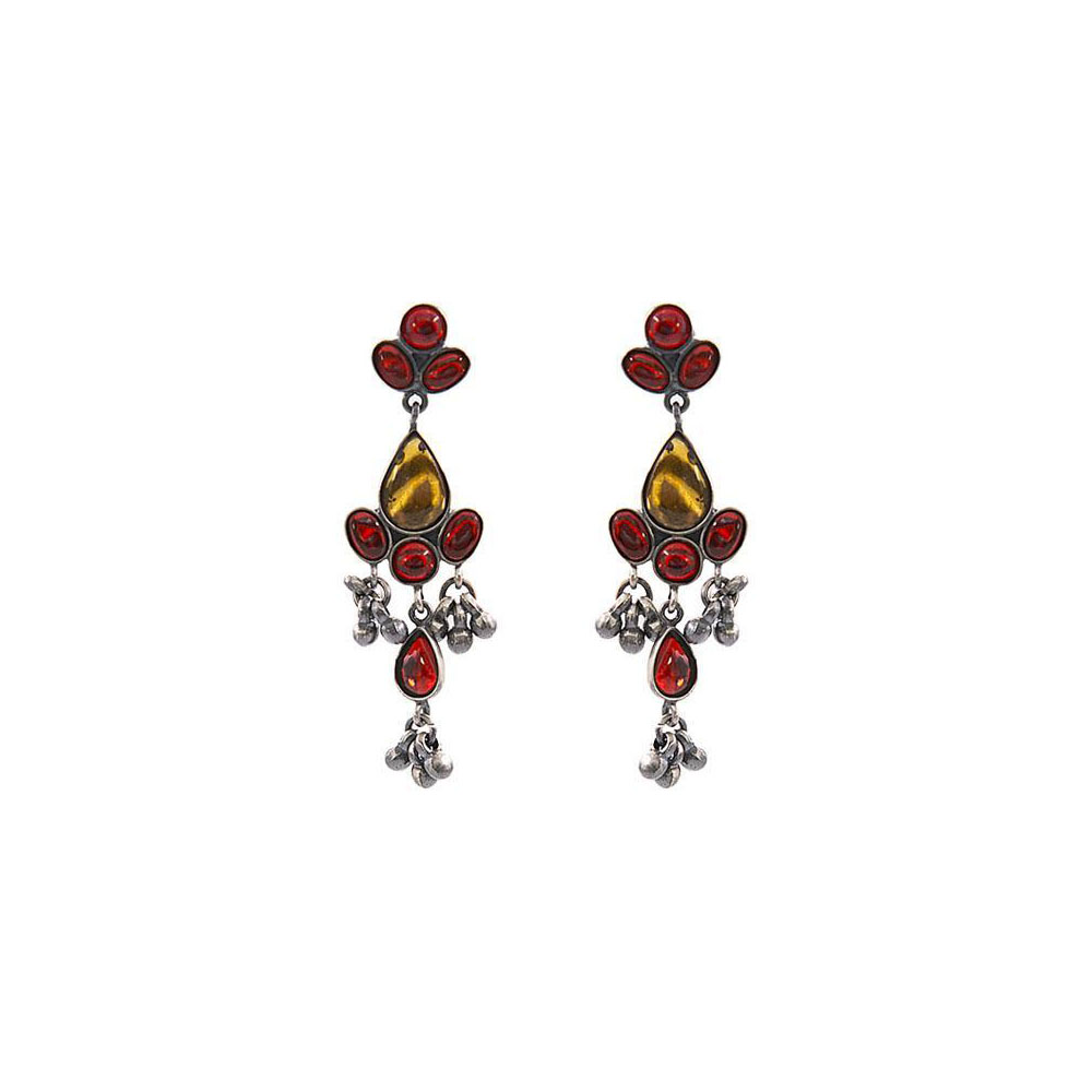 Ethnic Traditional Kundan Dangler Silver Earring