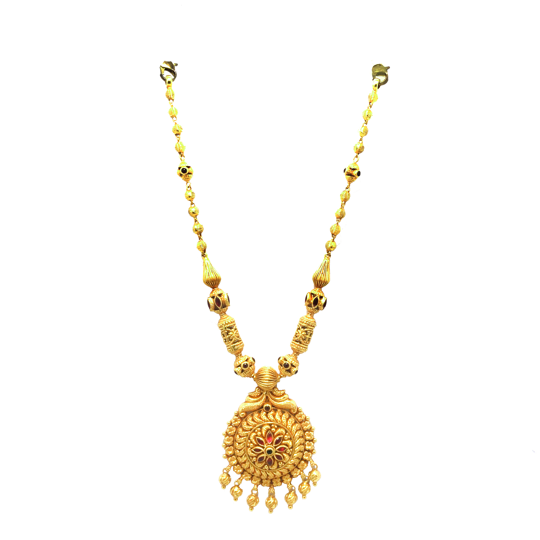 Gold  Traditional Evening Wear Rose Gold 22kt with CZ - Cubic Zirconia Necklace-240-GNL0002 GNL0002-1.jpg