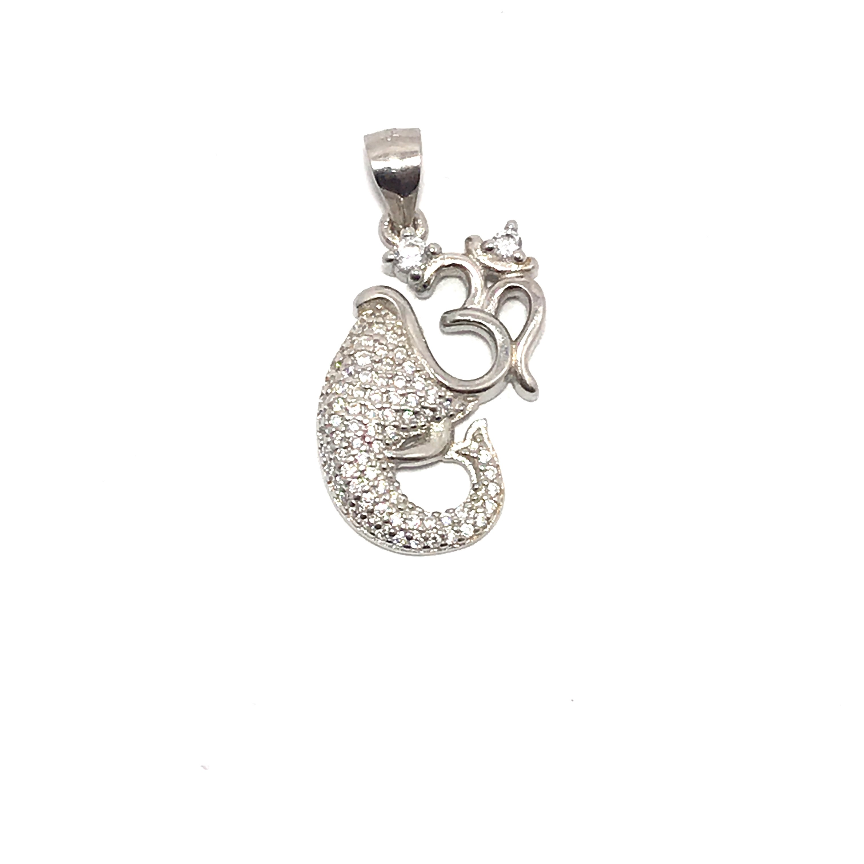 Religious Lord Ganesha With Aum 925 Silver Pendant-GD001