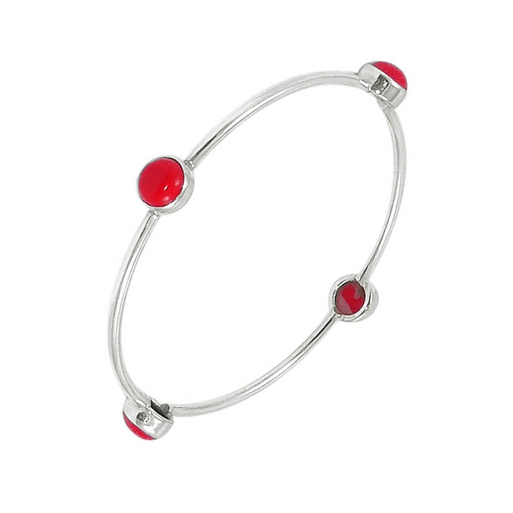 Winsome Gemstone Oxidized Silver Bangle
